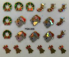 Nail Art 3D Decal Stickers Christmas Wreath Santa Golden Bells Stockings YGA009