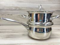 Kirkland 2 qt Sauce Pan w/ Double Boiler and Lid Stainless Steel w/ Copper Ring