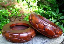 Wooden Ashtray Carved from Solid Wood 15 cm Brown Colour Home Decor Indonesia