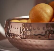 Stainless Steel Rose Gold Bowl 6x17cm Hammered Dining Fruit Serving Display Dish