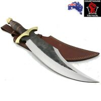Handmade Bowie Knife, Carbon Steel Blade, Leather & Brass Handle, Leather Sheath