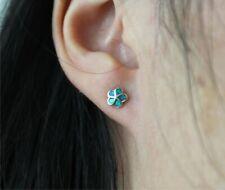 925 Sterling Silver w/ Blue Opal Inlay Tiny Hawaii Plumeria Flower Stud Earrings