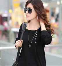 Fashion Women's Black Pullovers Batwing Sleeve T-shirt Tops Bottoming Shirt Warm