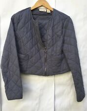 DKNY Jeans Quilted Cropped Jacket Moto-Style Womens Size Petite M Blue Unlined