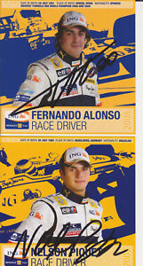 Renault ING F1 Cards Set of 3 Hand Signed Autographs Alonso Piquet di Grassi
