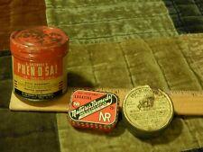 Phen-O-Sal + Natures Remedy + Bickmore Gall Salve [LOT of 3] Vtg METAL TINS Ltd
