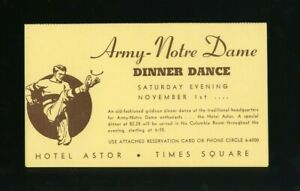 1940s Army - Notre Dame Football Dinner Dance Reservation Card @ Hotel Astor