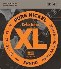 D'Addario EPN110 XL Pure Nickel Electric Guitar Strings. 10, 13, 17, 25, 35, 45.