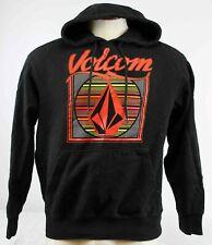 Volcom Black Hoodie Sweatshirt Sz Med Hand Pocket Front Red/Orange Logo