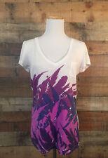 Women's Nollie T Shirt Top Size M White V Neck Purple Graphic Print