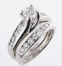1.50 Ct D/Vvs1 Diamond Engagement Wedding Ring Set In 14K White Gold Over