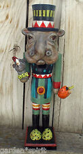 Folk Art Whimsical Halloween Hippopotamus Nutcracker Rhino Vintage Nostalgic