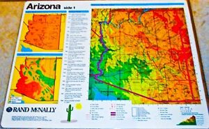 Arizona Map LD, State Seal and Flag, by Rand McNally, felt pen markable, 2-sided