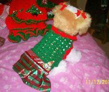 GREEN Dog Dress w/SHINY PLAID Skirt SNOWMAN XXS