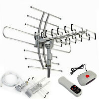 HDTV Outdoor Amplified Antenna HD TV 360° 38dB Rotor Remote UHF/VHF/FM 150 Mile