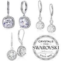 Silver Plated Drop Earrings * RIVOLI* 8 mm Crystals from Swarovski