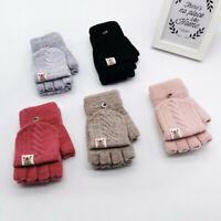 Children Kid Winter Warm Knitted Convertible Flip Top Fingerless Mittens Gloves