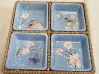 Ceramic Serving Tray Divided Tray Birds Butterfly Flowers