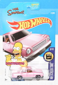 HOT WHEELS 2015 HW SCREEN TIME THE SIMPSONS FAMILY CAR PINK