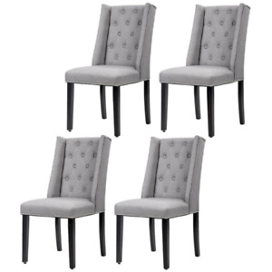 Set of 4 Grey Elegant Dining Side Chairs Button Tufted Fabric w Nailhead