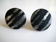Vintage Signed ATTITUDE PARIS Black Silver Fabric Button Earrings Clip On