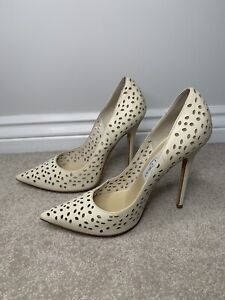 Jimmy Choo Cream Leather Heels - Size 5.5 UK 38.5 EU