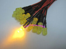 100pcs 5mm Yellow Diffused 9V 12V DC Pre-Wired LED Leds Light 20CM Free Shipping