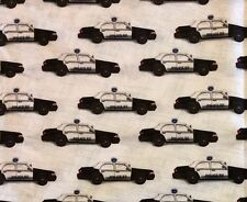Rpfcl17X Police Car Officer Vehicle 911 Cops Patrol Cotton Quilting Fabric