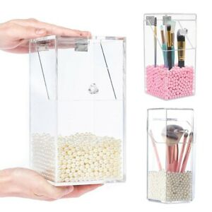Clear Acrylic Makeup Brush Storage Box With Lid Dustproof Organizer Holder Case