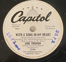 Capitol 2044 78 RPM record Jane Froman With A Song In My Heart / I'll Walk Alone