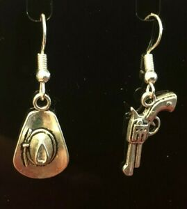 FUNKY COUNTRY & WESTERN MISMATCHED EARRINGS COWBOY HAT & GUN CHARMS in Gift Bag