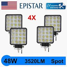 4PCS 48W SPOT BEAM LED WORK LIGHT TRACTOR SQUARE OFFROAD FORD SUV 24W TRUCK JEEP
