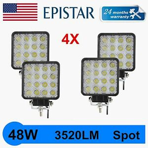 4X 48W LED WORK LIGHT SPOT DRIVING LAMP OFFROAD FOG SUV 3520LM 4WD TRACTOR 6000K