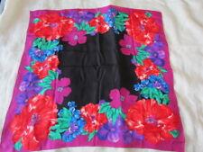 Silk Scarf Print  Floral  Abstract  Black Aqua Green Pink Purple Liz Claiborne