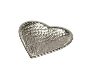 Silver Aluminium Heart Shaped Trinket Dish/ Tray/ Jewellery Holder Ladies Gifts