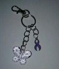 Purple Ribbon Heart Charm with Crystal Butterfly  Key Chain