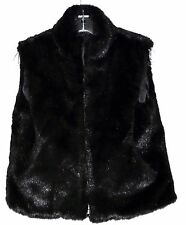 Cejon Accessories Black Cuddly Faux Fox Fur Zippered Womens Vest Size S