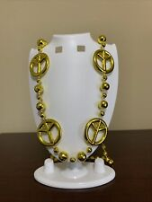 "New Listing""Gold Peace Signs"" Mardi Gras Necklace Bead Fantasy Fest"