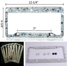 2Pcs Bling Crystal Style License Frames Plate for Car Front and Back US Standard