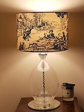 HANDMADE FABRIC LAMPSHADE 30cm STOF FESTIN BLUE TOILE DE JOUY FRENCH COTTAGE