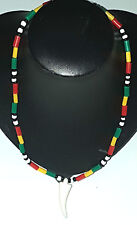 Rasta Beaded Necklace with White Tooth Shell Pendant - Made in GAMBIA