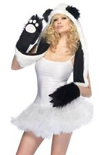 Fell-Mütze mit Handschuh-Schal CUTE PANDA Kostüm für Straßenkarneval Pelzmütze