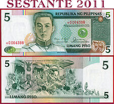 (com) PHILIPPINES 5 PISO 1985/94 - Sign 11 Red Serial - REPLACEMENT - P 168c UNC