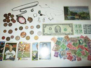 JUNK DRAWER LOT__U.S.A. COINS, Jewelry, 1942 Mercury, Silver Coins, RHINESTONES