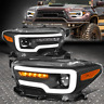[SEQUENTIAL SIGNAL LED DRL] FOR 16-20 TACOMA BLACK AMBER PROJECTOR HEADLIGHTS