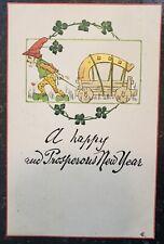 H.L.Woehler New Year Postcard - Lephrechaun Elf Shamrock Lucky Horseshoe in Cart