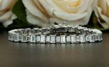 7 Ct Emerald Cut Sim Diamond Women's Link Bracelets 14k White Gold Finish Silver