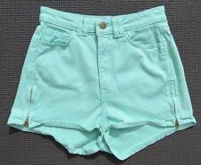 AMERICAN APPAREL USA Stretch Denim Mint Green Jean Shorts size 26 27 2 4