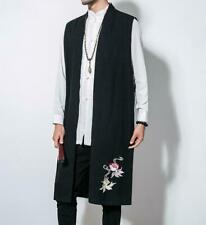 Mens Chinese Embroidery Sleeveless Vest Coats Long Cotton Linen Waistcoat Retro