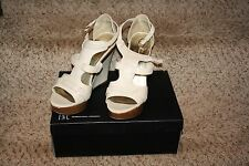 INC Cameobon Bone Ivory  Peep Toe Wedge Heels Faux Wood Size 10